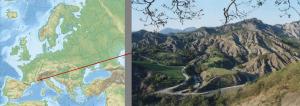 Localisation des bassins versants marneux de Draix, Alpes de Haute-Provence (photo N. Mathys)
